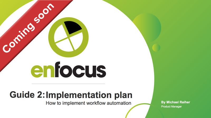 Cover: the Enfocus guide to a workflow automation implementation plan