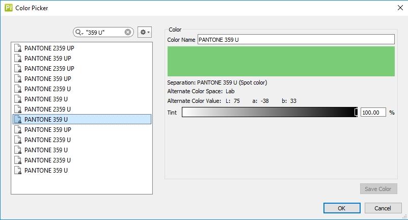 pantone colors while editing a PDF file