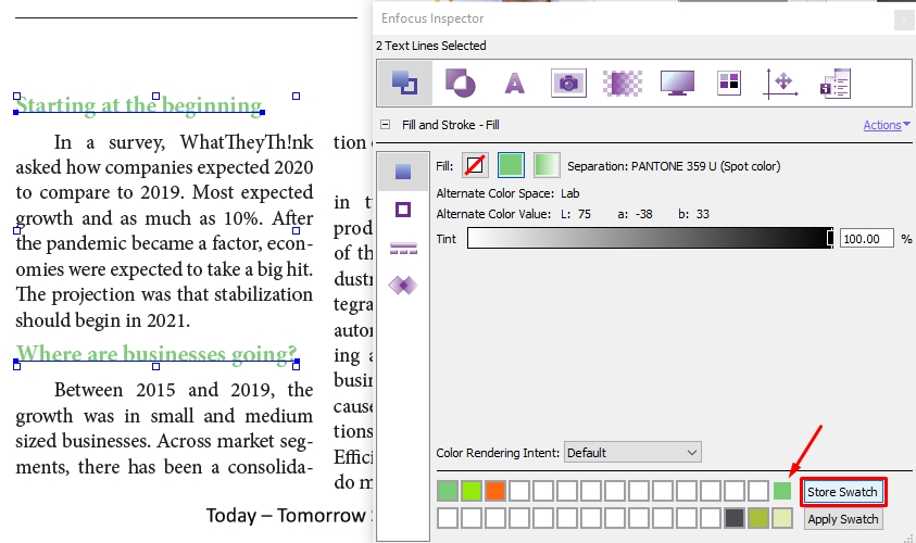 colorize text edits in a PDF file